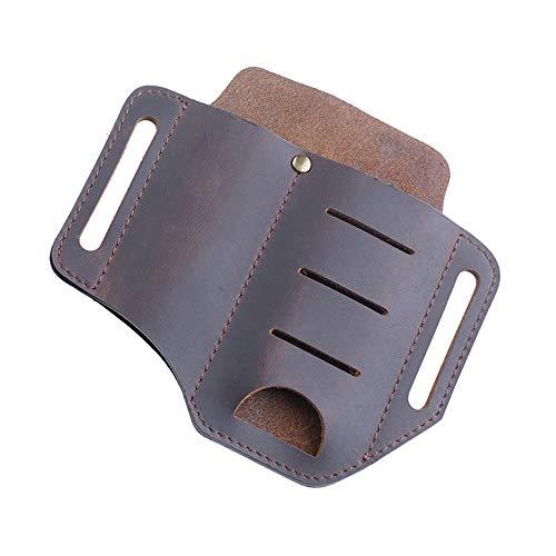 EDC Leather Organizer Belt Loop, 2 zakken Hademade Crazy Horse Leather Praktische Belt Cover Toolkit, voor mes/zaklamp/gereedschap en EDC Gear