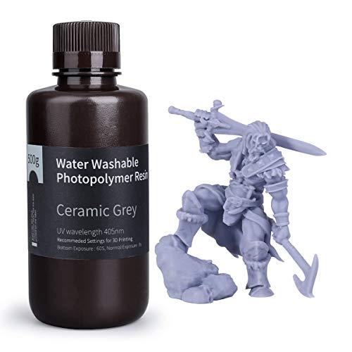 ELEGOO Water Washable Rapid 3D Printer Resin LCD UV-Curing Resin 405nm Standard Photopolymer Resin for LCD 3D Printing 500Gram Clay Grey