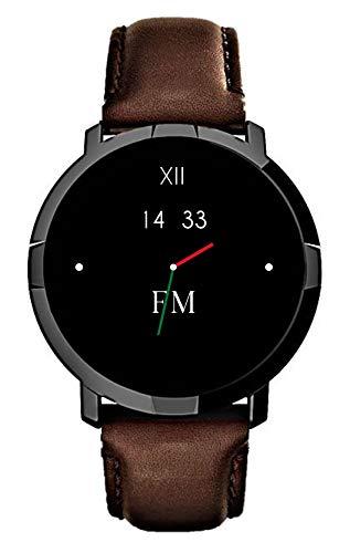 FLORENCE MARLEN FM1R Milano | Disegnato In Italia | 2 CINTURINI | Smartwatch Uomo-Donna Cinturino Pelle Marrone |Orologio,Water-Resistant|Cardiofrequenzimetro,Contapassi,Notifiche|IOS & Android
