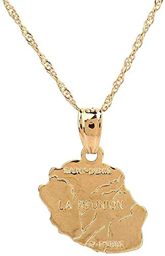 BACKZY MXJP Necklace Gold Color Necklace Map of Reunion Island Necklace with Pendant Map of The Country France Maps of Reunion Island Jewelry