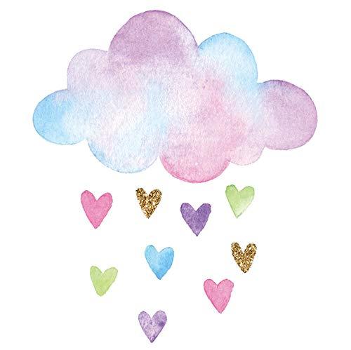 Vvff Multicolor Nube Amor Corazón Lluvia Pegatinas De Pared Para Dormitorio Sala De Estar Habitación De Niños Jardín De Infantes Decoración De Pared Decoración Del Hogar