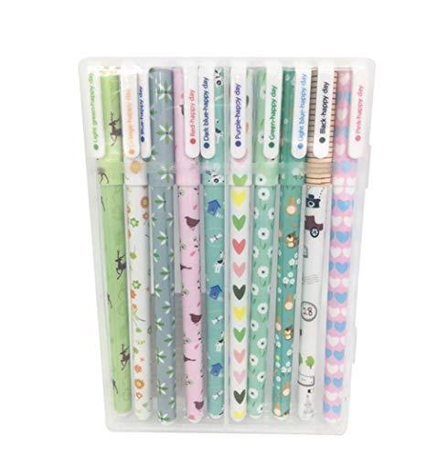 Wean Pack de 10 bolígrafos de tinta de gel de colores para estudiantes de papelería, suministros escolares