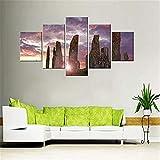 Quadro su Tela HD decoración del hogar cuadro de arte de pared 5 Banshan e paesaggio fluviale moderno Stampato Poster modulare Dipinto sin marco