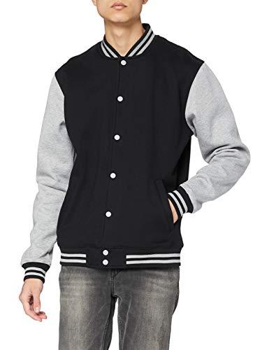 Urban Classics TB207 Herren Jacke Bekleidung 2 Tone College Sweatjacket, Black/Grey, M