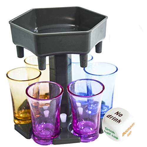 6 Shot Glass Dispenser and Holder, Drink Dispenser with Game Dice, Liquor Dispenser with 6 Colorful...