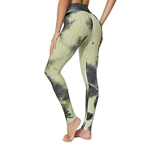 Pistaz Leggings para mujer, corte ajustado, cintura alta, pantalones de deporte Honeycomb para fitness, yoga, con push-up y control de abdomen, elásticos., amarillo, 36W regular