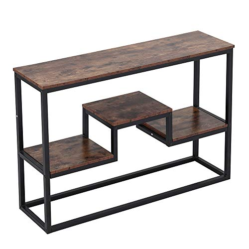 Coffee Table Hallway Console Table Narrow Living Room Side Table Bedroom End Table Rectangle Storage with Steel Frame