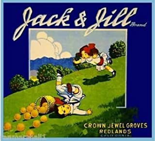 MAGNET Redlands Jack & Jill Orange Citrus Fruit Crate Magnet Art Print