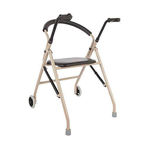 ZWCC Andador Anciano con Polea De Asiento Andador Plegable Inhabilitado BastóN Resbaladizo De Cuatro Patas,B