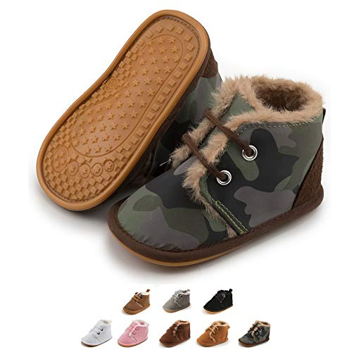 Zoolar Baby Warm Boots Newborn Boy Girl Cozy Fur Shoes Lace Up Toddler Booties First Walker Winter Crib Boots, B-tie Green, 0-6 Months Infant