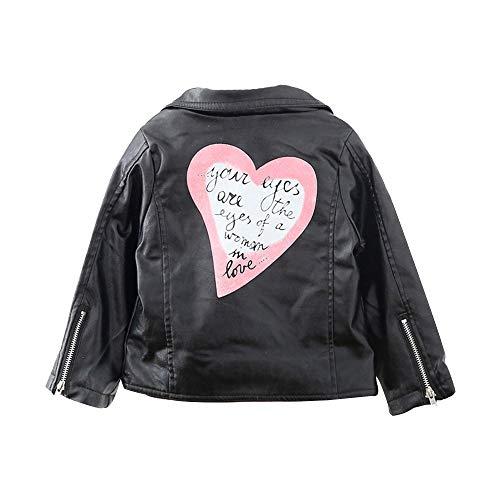 Allence Baby Kinder Mantel, Coat Jacken Herbst Winter Junge Mädchen Schwarz Pu Nähte Revers Lederjacke Strickjacke Kleidung Warm Outwear