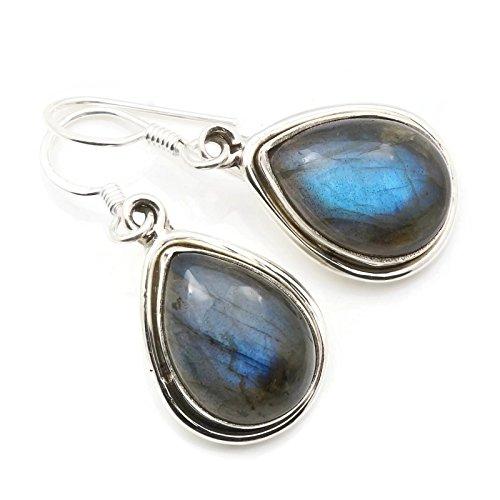 Labradorit Ohrringe 925 Silber Sterlingsilber Ohrhänger grün blau (MOH 102-05)