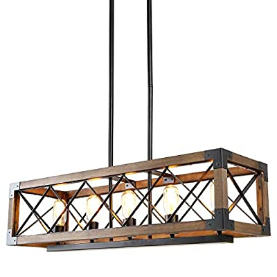 LALUZ Dining Room Lighting Fixtures Hanging,5-Lights Open-Caged Farmhouse Chandelier,Rectangular Farmhouse Light Fixture