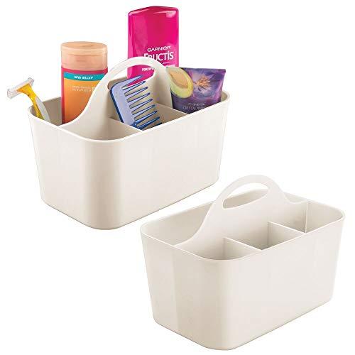 mDesign 2er-Set Badezimmer Korb mit Griff – als Kosmetik Organizer, Küchen Aufbewahrungsbox oder Handtuchhalter – kleine Bad Box aus robustem Kunststoff – cremefarben