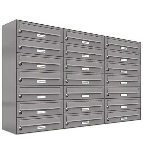 Sistema de buzón AL de 21 buzones de aluminio gris RAL 9007, buzón premium DIN A4, 21 buzones