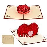 2pcsTarjeta para San Valentín,, hermoso corte de papel, 3D Pop-Up Tarjeta de Felicitación, para cumpleaño\ día de la madre\boda\ día de San Valentín . (Amor 3D y Rosa)