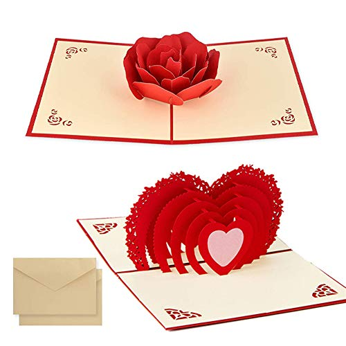 2pcsTarjeta para San Valentín,, hermoso corte de papel, 3D Pop-Up Tarjeta de Felicitación, para cumpleaño día de la madreboda día de San Valentín . (Amor 3D y Rosa)