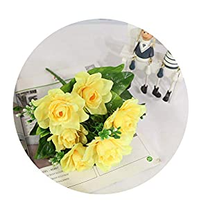 Sevem-D New Artificial Flower Decor Bouquet 7Branch Fake Silk Gardenia Home Table Flower DIY Wedding Decoration,Yellow