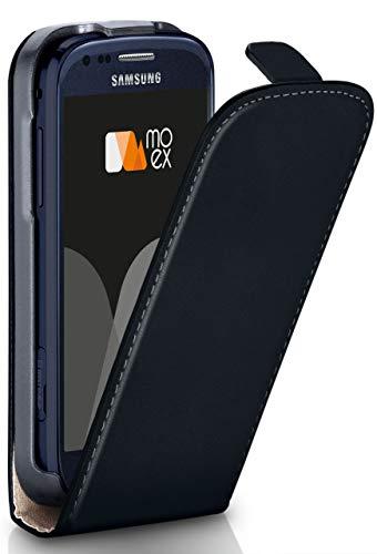 moex Flip Case für Samsung Galaxy S3 Mini - Hülle klappbar, 360 Grad Klapphülle aus Vegan Leder, Handytasche mit vertikaler Klappe, magnetisch - Schwarz
