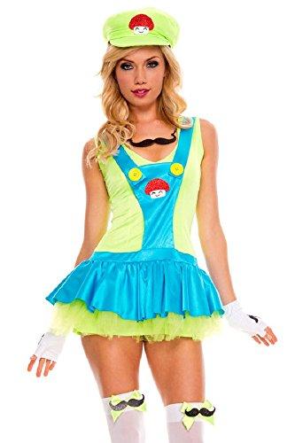 Fancy Me Damen Sexy Super Mario oder Luigi 1980s Jahre 80s Jahre Halloween Kostüm Kleid Outfit - Grün, 8-10