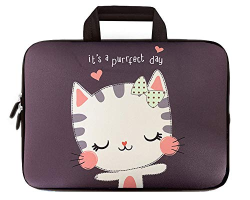 icolor Lovely Kitty 9.7 10 10.1 Inch Laptop Carrying Bag Neoprene Travel Briefcase Portable Chromebook Ultrabook Sleeve Case with Handle Fits 9.7-10.2 Inch Dell Google Acer HP Lenovo Asus (IHB10-18)