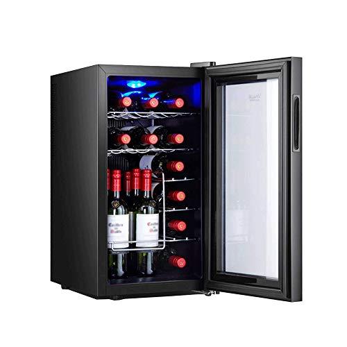 YFGQBCP Inicio Ice Bar-18 Botella Doble Zona termoeléctrica Rojo y Blanco del refrigerador de Vino, Tranquilo, Independiente Frigorífico Cristal Ahumado Puerta Operación Nevera