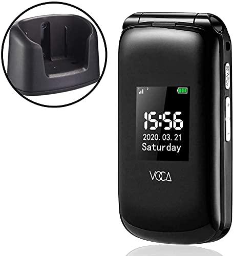 VOCA Big Button Handy für ältere Menschen, Senior, V540 Unlocked 4G Flip Handy, Dual Big Screen, Predictive Text, SOS-Taste, Hörgerät kompatibel, einfach zu bedienen, Schwarz