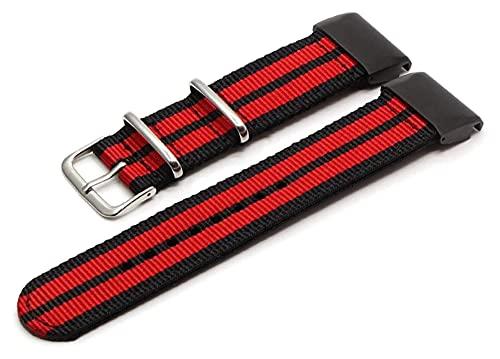 Lzpzz Correa de reloj de nailon 26, 22, 20 mm, pulsera inteligente (color: 26 mm, tamaño: negro y rojo)