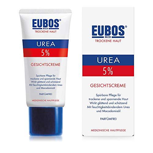 Eubos | 5% UREA Gesichtscreme | 50ml | für trockene Haut | Hautvertäglichkeit dermatologisch bestätigt | Verbesserung Hydratationsfähigkeit der Haut | Spezial-Pflegecreme