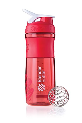 BlenderBottle Sportmixer - Botella de agua y mezcladora, 820ml (1 x 820ml), Rojo Transparente