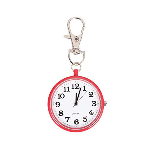 Hemobllo orologio da tasca tondo portachiavi orologio orologio da tasca al quarzo con fibbia chiave orologio unisex portatile unisex per bambini infermieri - rosso