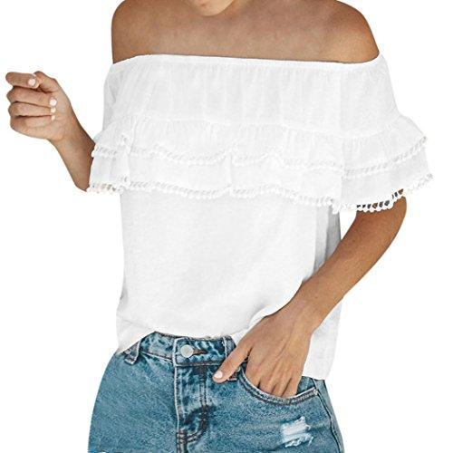 ESAILQ Damen Lange Ärmel Schulterfrei Blumenmuster Locker T Shirt Lässige Oberteil Tops Bluse(XL,Weiß)