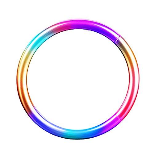 Piersando Universal Piercing Segmentring Smooth Septum für Tragus Helix Ohr Nase Lippe Brust Intim Scharnier Clicker Ring Chirurgenstahl 1,2 x 8mm Rainbow