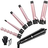 6 in 1 Curling Iron Wand Set - Laluztop Hair Curling Iron with 6 Interchangeable Ceramic Barrels and LCD Temperature Display, 0.35-1.25 Inch Hair Curler for All Hair Types - Rose Golden