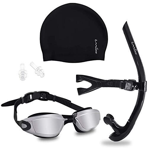 OMGear Swim Frontal Snorkel Swimming Goggles Silicone Swim Cap Set for Swim Training Swimming Gear for Women Man Youth Black