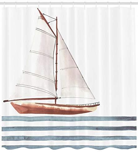 MMPTn Zitiert Duschvorhang Segel Thema Boot Welle weißen Hintergr& minimalistischen Stil Druck für Bad Vorhänge 71 * 71 Zoll geeignet für Bad Dusche WC einschließlich 12 Kunststoffhaken