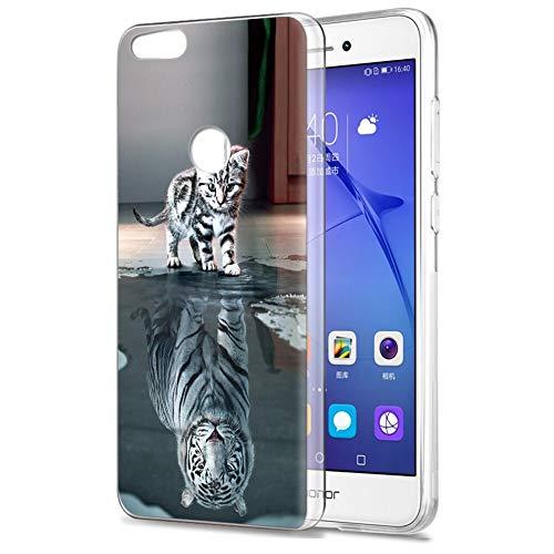 Zhuofan Plus Funda Huawei P8 Lite 2017, Silicona Suave Clara Transparent TPU Gel con Diseño Print Pattern Anti-rasguños Shockproof Protactivo Cover para Huawei P8 Lite 2017, Gato Tigre