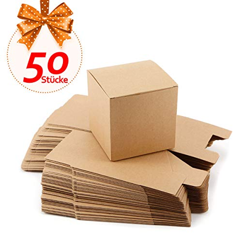 Anladia 50xGeschenkbox Geschenkschachtel Kraftpapier 10x10 x10cm Kartonage Geschenkverpackung Cupcake Bonboniere Gastgeschenk Box Hochzeit Party