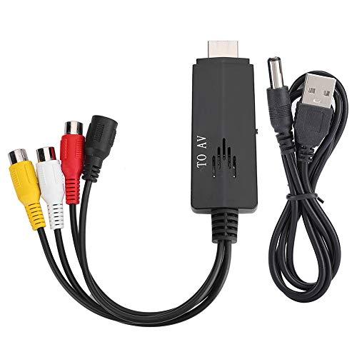 Adaptador HDMI A RCA, 1080P HDMI A RCA Adaptador Convertidor De Audio Y Video Con Cable De Datos Admite PAL/NTSC Para TV VCR DVD