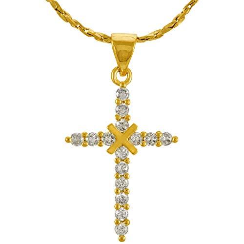 Lifetime Jewelry スモールキュービックジルコニアクロスネックレス メンズ&レディース 24K純金メッキ ゴールド