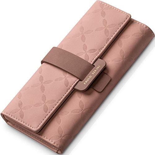PAULO SERINI® Geldbeutel Damen Groß   Portemonnaie Geldbörse Frauen mit 9 Kartenfächer & Fotofenster   Elegantes Portmonee aus weichem 100% veganem Leder mit Münzfach   rosa