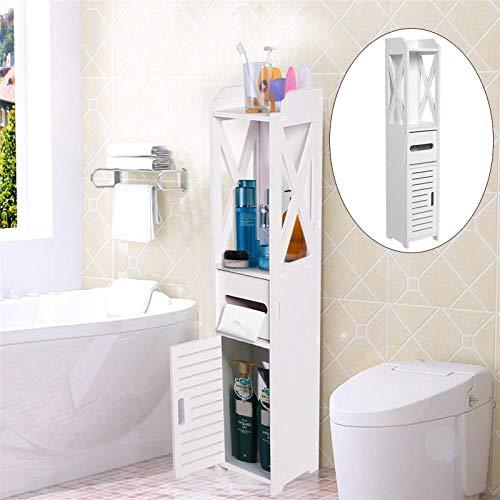 SOULONG Armarios de Suelo para Baño con 3 Estantes Multifuncional Organizador de Ahorro de Espacio de Baño
