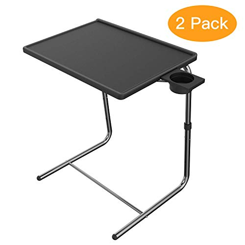 HUANUO Adjustable TV Tray Table - with 6 Height & 3 Tilt Angle Adjustments and Built-in Cup Holder for Dinner on Bed & Sofa (2 Pack, Black)