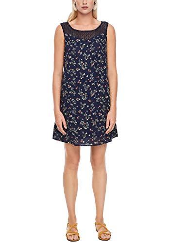 s.Oliver Damen Crêpe-Kleid mit Spitzenpasse Dark Blue AOP Mini Flowers 38