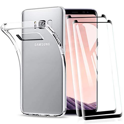 KEEPXYZ Funda para Samsung Galaxy S8 Plus + 2 Pcs Protector de Pantalla para Galaxy S8 Plus Cristal Templado, Suave Silicona Transparente TPU Antigolpes Carcasa + Vidrio Templado para Samsung S8 Plus