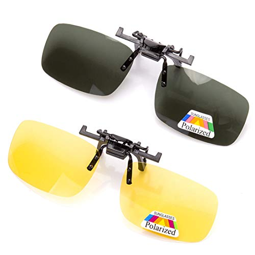 2 Pairs Sunglasses Clip On Flip Up Night Vision Glasses Anti Glare Polarized for Men Women UV400 Best for Driving -Yellow+Green