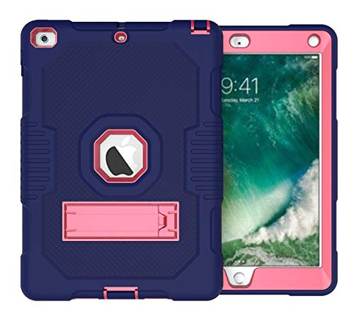 Tablet Protective Clips Rugged Anti-Drop Three-Layer Protective Shell Suitable for New iPad 9.7 2017/2018 Protective Cover Rubber High-Strength Protective Shell with Built-in Shock Mount Tablet PC Bag