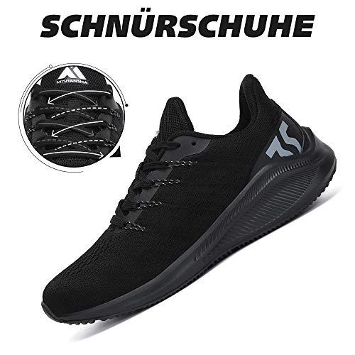 Mishansha Zapatos de Running Hombre Antideslizante Zapatillas de Correr Mujer Fitness Sneakers Negro 41