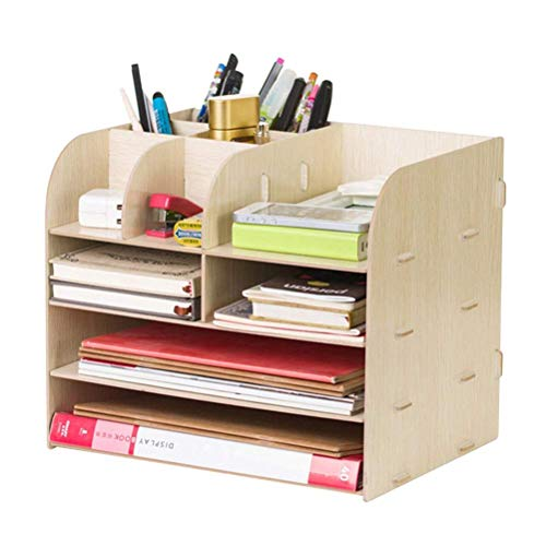 Workspace Storage Shelf Rack, Wood Desk Organizer,Student Desk Finishing for School,Office Suppies File Letter Sorter Document Folder Tray Pen Holder,White