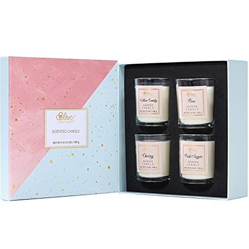 Scented Candles Gift Set for Women, Aromatherapy Candles Gifts for Women, 4x3.5oz Long Lasting Candles for Home Scented Bath Yoga, 100% Natural Soy Candles, Unique Mothers Day Gifts for Mom Birthday